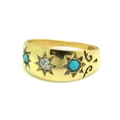 antique-edwardian-1901-1910-diamond-turquoise-yellow-gold-gypsy-ring-size-0-12