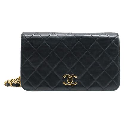Chanel Full Flap CC Mark Plate Mini Chain Bag Black