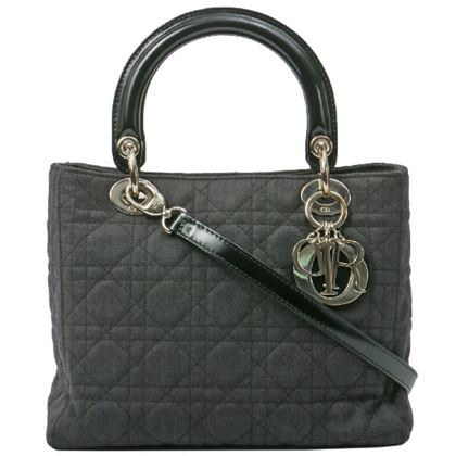 Dior Cotton Lady Cannage Stitch 2way Bag M Charcoal Grey/Silver