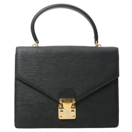Fendi Logo Plate Handbag Black