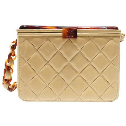 Chanel Tortoiseshell Mini CC Mark Handbag Beige / Brown