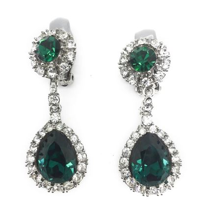 ciner-vintage-earrings-faux-emerald-diamond-drops-1960s