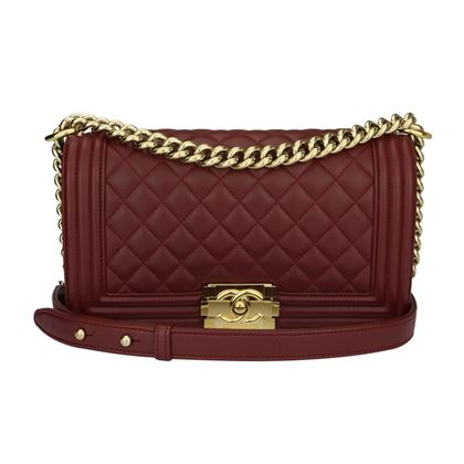 Chanel Old Medium Quilted Boy Burgundy Lambskin Shiny Gold Hardware 2015