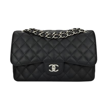 chanel-double-flap-jumbo-black-caviar-silver-hardware-2011