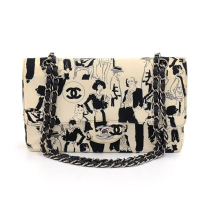 chanel-255-double-flap-white-karl-lagerfeld-sketch-shoulder-bag-limited-edition