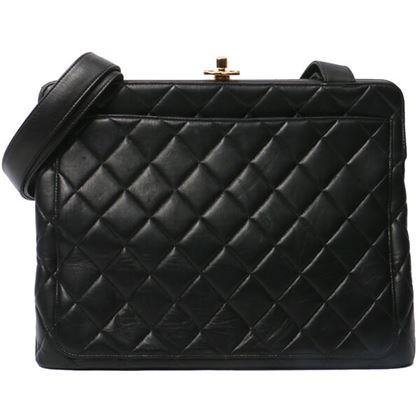 Chanel Matelasse Plate Hand Bag Black