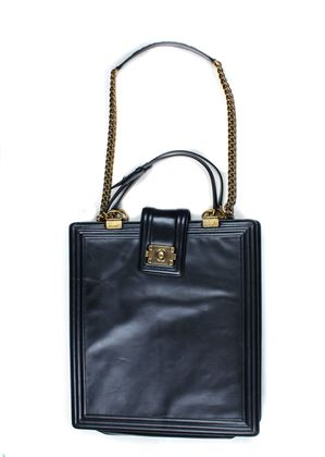 Chanel Tall Briefcase Black Leather Boy Bag Xl
