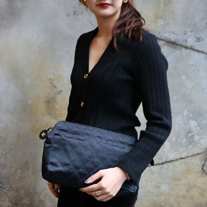 Chanel Silk Satin Bicrore Stitch Clutch Bag Black