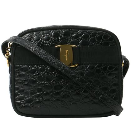 salvatore-ferragamo-croc-effect-vara-bow-shoulder-bag-black