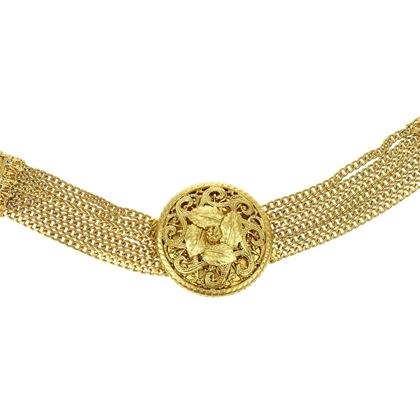 Chanel Gold Tone Multi-Strand Chain Necklace Belt