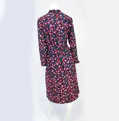 1970s-i-magnin-floral-dress-with-matching-belt-ruffled-neckline-and-sleeves