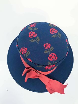 1960s-blue-woven-rose-boater-hat-with-rust-hat-band-and-bow
