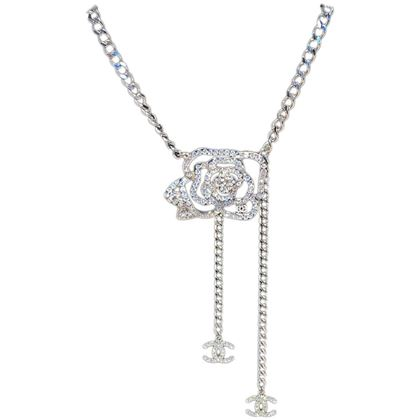chanel-silver-chain-rhinestone-camellia-flower-belt-necklace