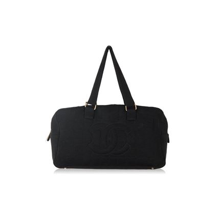 chanel-black-square-stitch-fabric-bowling-bowler-shoulder-bag