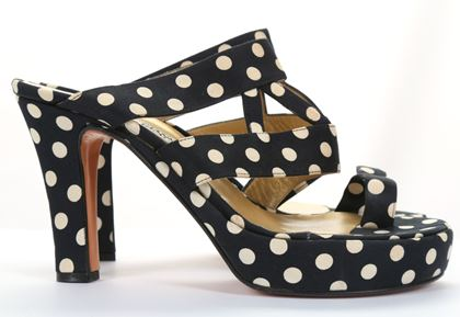 gianni-versace-platform-heels-spot-polka-dot-black-cream-leather-uk-3-us-6-90s-platform-pumps-extra-high-heels-vintage-heels-summer-sandals