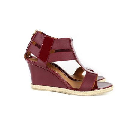 Fendi New Espadrille Sandals in Ruby Red Patent Leather