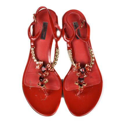 Dolce & Gabbana Crystal Sandals with Red Straps