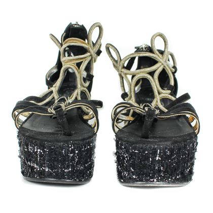 Chanel Black Silver Runway Wedge Sandal Us 7.5