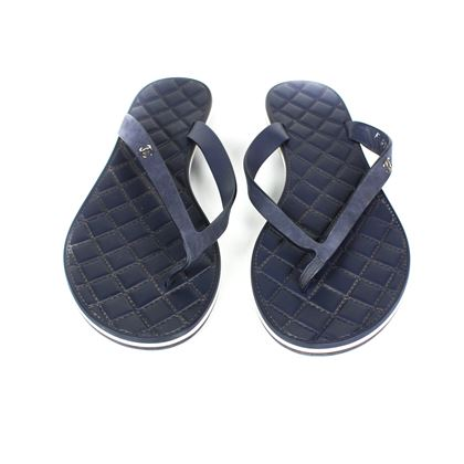 Chanel Sandals in Navy Blue Quilted Leather