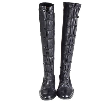 Ann Demeulemeester Boots Lace Up Knee High Black Leather Us 6 Pre-Owned Used