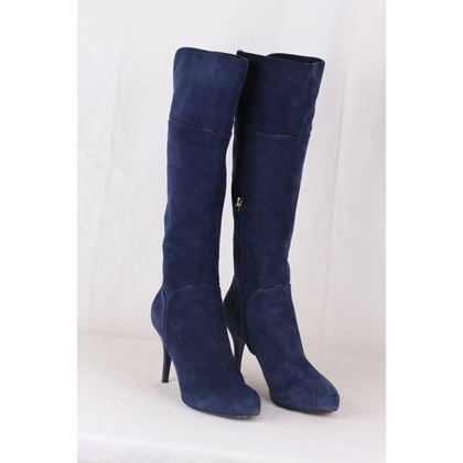 sergio-rossi-blue-suede-heeled-boots-shoes-size-37