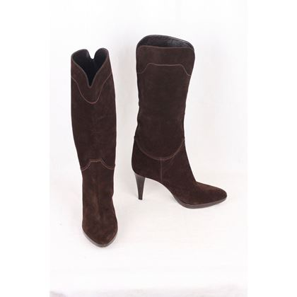 sergio-rossi-brown-suede-heeled-boots-shoes-size-35