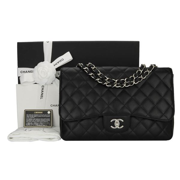chanel-single-flap-jumbo-black-caviar-silver-hardware-2009