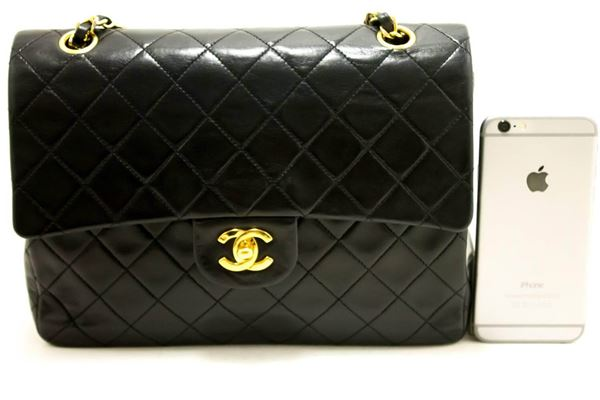chanel-255-double-flap-chain-shoulder-bag-black-quilted-lambskin