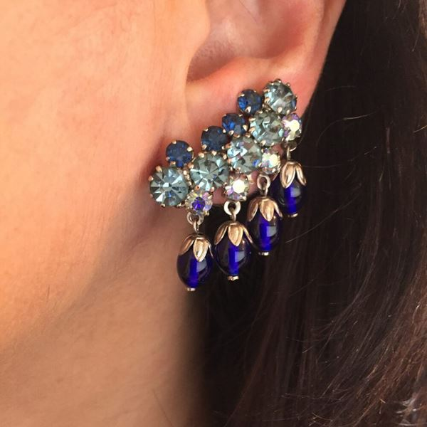 blue-glass-vintage-earclimber-earrings-1950s
