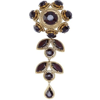 christian-dior-1960s-large-flower-drop-brooch-with-garnet-prong-set-rhinestones