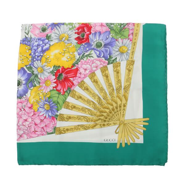 gucci-floral-pattern-scarf-green