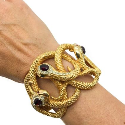 snake-vintage-bangle-gilt-entwined-gem-set-1980s