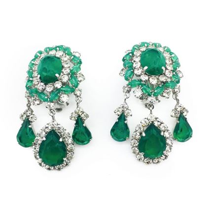 dior-vintage-earrings-faux-emerald-diamond-cascades-1970