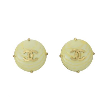 chanel-wood-round-cc-mark-earrings-melon-yellow