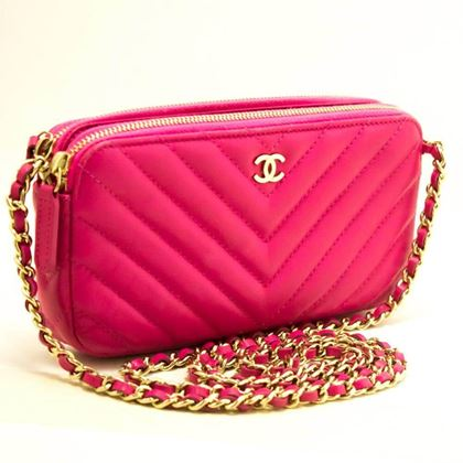 chanel-hot-pink-wallet-on-chain-woc-double-zip-chain-shoulder-bag