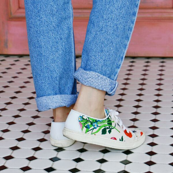 Gucci Flora Pattern Sneakers White