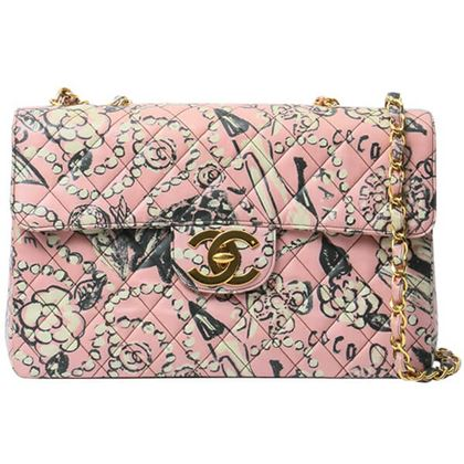 chanel-cc-mark-print-classic-flap-chain-bag-maxi-pink