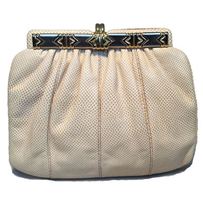 judith-leiber-beige-lizard-leather-vintage-clutch