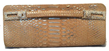 judith-leiber-tan-and-gold-faux-snakeskin-python-crystal-buckle-clutch