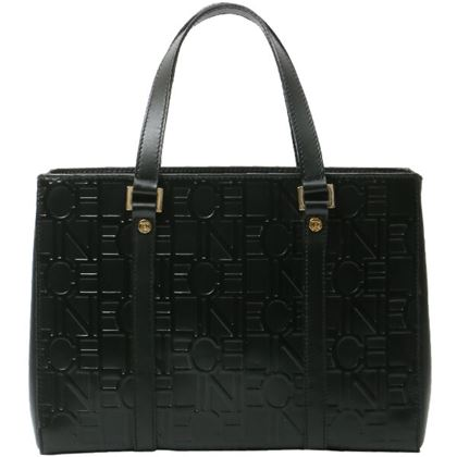 celine-logo-embossed-pattern-handbag-black