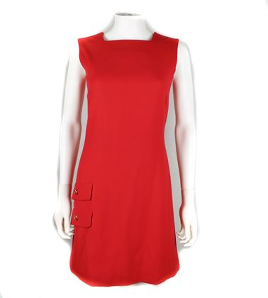 Versace Red Dress Wool Silk Gianni Couture Us 2