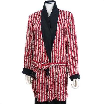 Chanel Red Striped Robe Coat