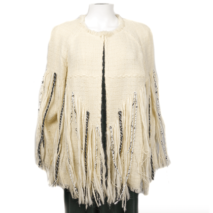 Chanel Knit Poncho Coat Cream Wool Blend  New