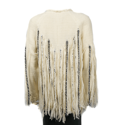 Chanel Unworn 10A Poncho Cape in Cream White Wool