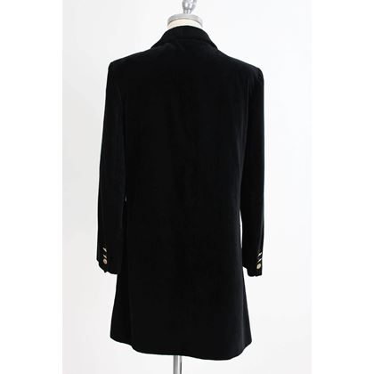 byblos-cape-poncho-black-velvety-cotton-italian-coat-1980s