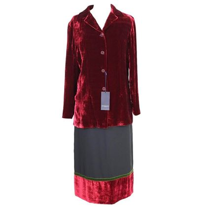 burberry-london-skirt-suit-velvet-red-jacket-size-42-it-made-italy-1990s-nwt