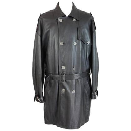 versus-gianni-versace-black-leather-motorcycle-raincoat-trench-coat-size-3852-2