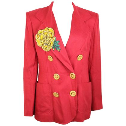 christian-lacroix-red-with-yellow-ruffle-sunflower-double-breasted-blazer