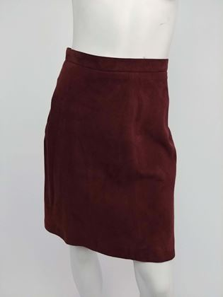 1990s-alaia-brown-vegan-suede-back-pleat-skirt