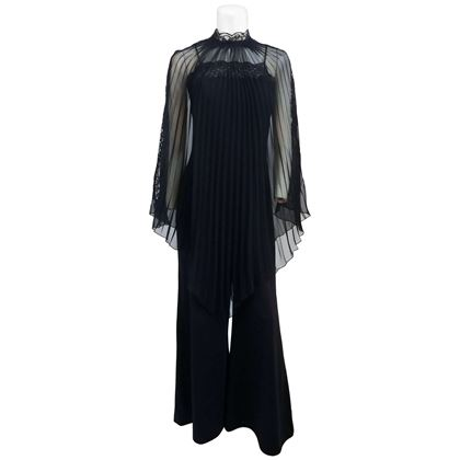 lace-detail-black-jumpsuit-and-sheer-pleated-cape-1970s